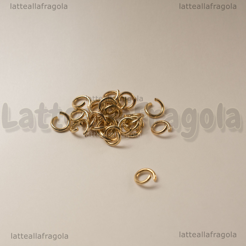50 Anellini apribili in Acciaio Gold Plated 6x1mm