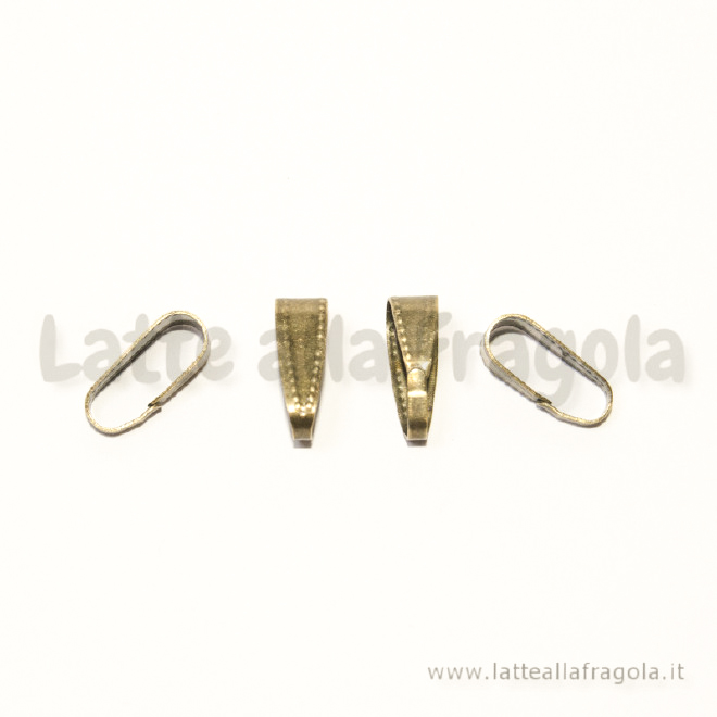 5 Contromaglie per ciondoli in metallo color bronzo 11x4mm