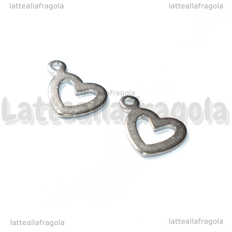 Charm Cuore in Acciaio 304 14x12mm