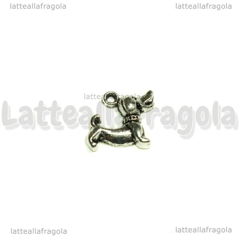 Charm Cane Bassotto in metallo argento antico 18x15mm