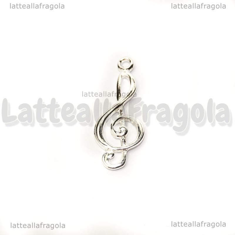 aspetto dettagliato 3440e 6c303 Ciondolo Chiave di Violino in Argento 925 24x10mm