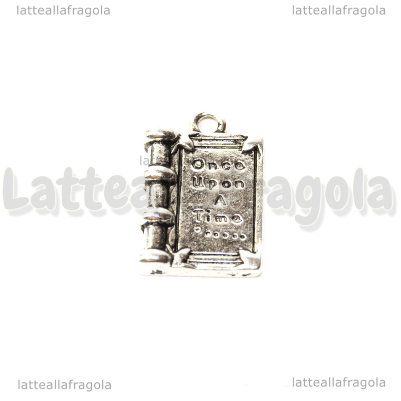 Charm Libro Once Upon a Time in metallo argento antico 17x12mm