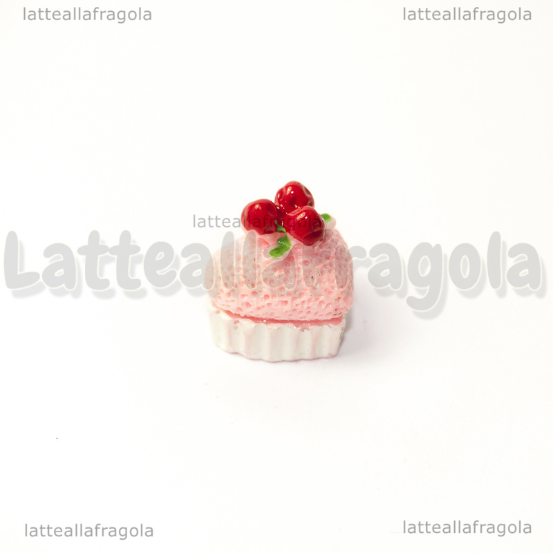 Cupcake 3D cuore fragola in acrilico 15x13x15mm