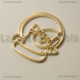 Ciondolo Bezel Babbo Natale in metallo gold plated 39x34mm