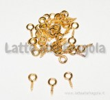 30 Ganci a vite con occhiello 8x4mm in metallo Gold Plated