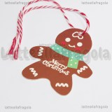 10 Gingerbread Merry Christmas in cartoncino con cordoncino colorato 6.5x5.5cm