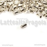 25 Capocorda in ottone silver plated 4x1.8mm per fili da 1.2mm