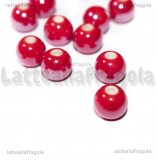 5 Perle in Ceramica Rossa 8mm