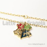 Collana con ciondolo Stemmi di Hogwartz in metallo smaltato Gold Plated