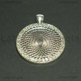 Base Cammeo con Strass in metallo silver plated per cammei 30mm