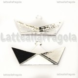 Ciondolo Barchetta Origami in metallo silver plated 31x18mm