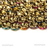 5 Rondelle in rame Gold plated con strass colorati 5x2.5mm