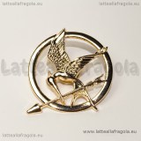 Spilla Hunger Games in metallo zincato gold plated 40x40mm