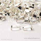 5 Contromaglie per ciondoli in metallo Silver Plated 11x4mm