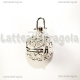 Ciondolo apribile tondo filigrana cuori in rame silver plated 36x28mm
