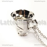 Collana Tazzina di Once Upon a Time in metallo argentato 31x25mm