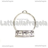 Ciondolo Bezel Palla di Neve in metallo silver plated 42x33mm